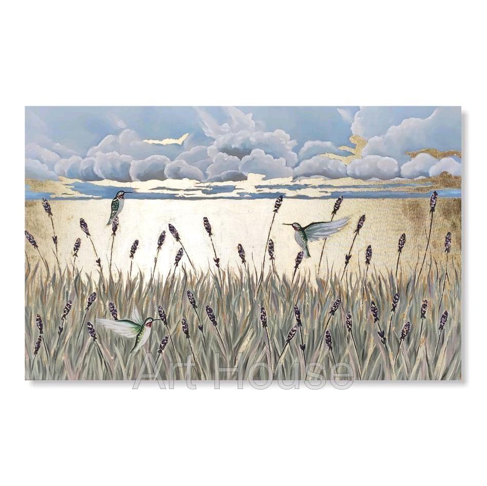 Картина Поле, картина с золотом, птицы, пейзаж, абстракция, интерьер, Картины, Ставрополь,  Фото №1