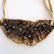 Украшения handmade. Livemaster - original item necklace birch wood beads with crystal Warm Rosa. Handmade.