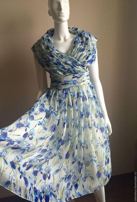 Платья ручной работы. Ярмарка Мастеров - ручная работа. Купить Платье (шелк 100%). Handmade. Голубой, урай, картинки мск
