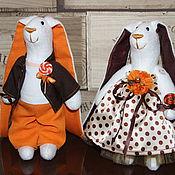 """Куклы и игрушки ручной работы. Ярмарка Мастеров - ручная работа Зайки """"Оранжево-кофейное настроение"""". Handmade."""