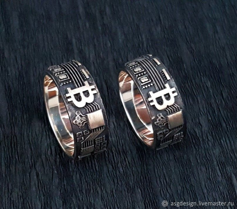 Two silver bitcoin rings, Bitcoin, Rings, Moscow,  Фото №1
