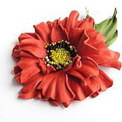 Украшения handmade. Livemaster - original item jewelry made of leather. Brooch flower hair clip RED POPPY. Handmade.