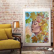 Картины и панно handmade. Livemaster - original item Oil painting with gold leaf Girl with Golden leaves. Handmade.