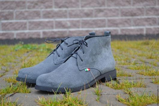 Обувь ручной работы. Ярмарка Мастеров - ручная работа. Купить Ботинки женские замшевые серые на байке. Handmade. Серый, шнуровка