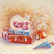 """Картины и панно ручной работы. Ярмарка Мастеров - ручная работа Картина масло """"Чемоданное настроение"""", бесплатная доставка. Handmade."""