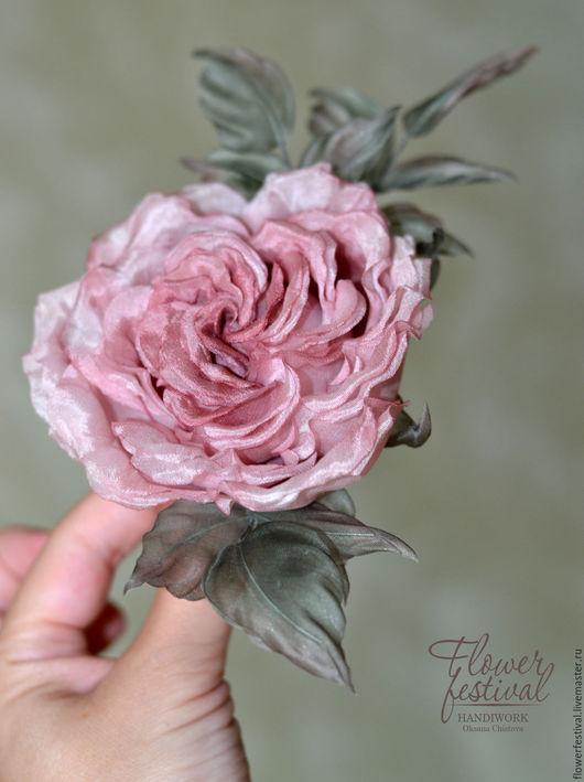 Цветы ручной работы. Ярмарка Мастеров - ручная работа. Купить Роза заколка-брошь из шелка Flower Festival. Handmade.