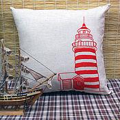 Для дома и интерьера ручной работы. Ярмарка Мастеров - ручная работа Интерьерная подушка с вышивкой Маяк. Handmade.