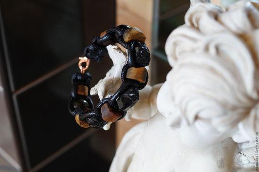 Браслеты ручной работы. Ярмарка Мастеров - ручная работа. Купить Мужской браслет Шамбала с Шерл-турмалином(унисекс). Handmade. Черный