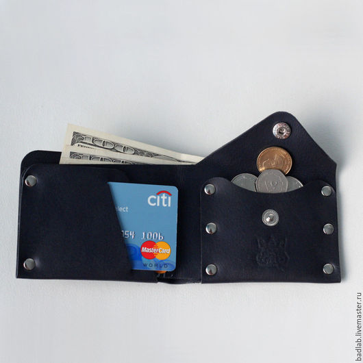 Кошельки и визитницы ручной работы. Ярмарка Мастеров - ручная работа. Купить Кожаный кошелек с отделением для монет Monas синий. Handmade.