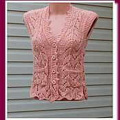 Одежда ручной работы. Ярмарка Мастеров - ручная работа Вязаный женский жилет, ажурный жилет. Handmade.