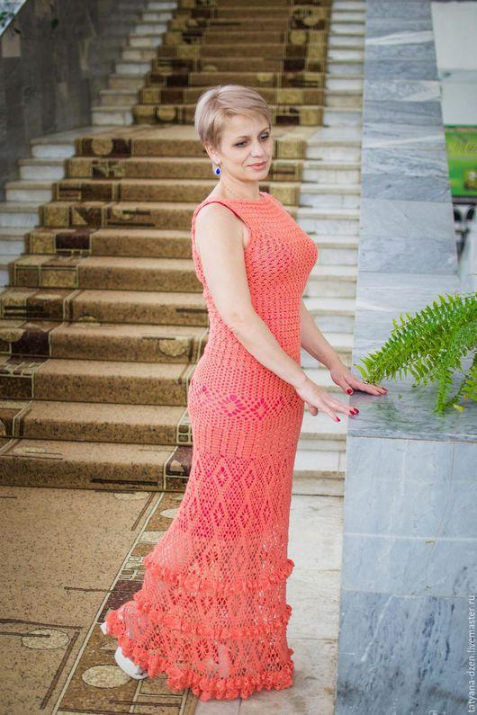 Платья ручной работы. Ярмарка Мастеров - ручная работа. Купить Платье вязаное ажурное Эрика из микрофибры по мотивам Джованны Диас. Handmade.
