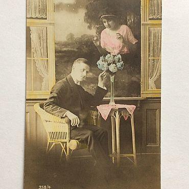 Винтаж ручной работы. Ярмарка Мастеров - ручная работа До 1917 года Антикварная Открытка чистая. Handmade.