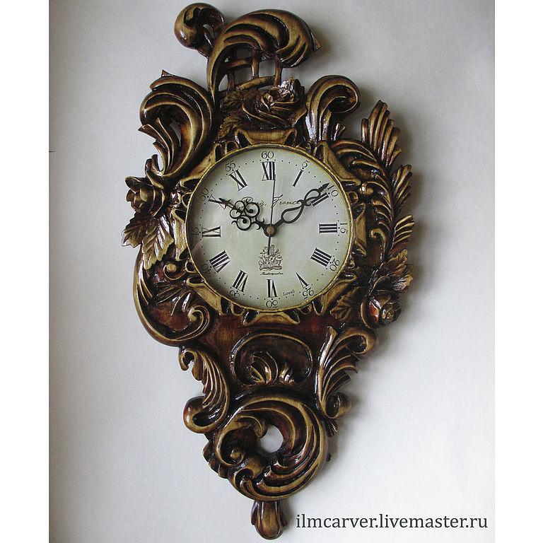 carved wall clock, Clocks handmade, Elista, Фото №1