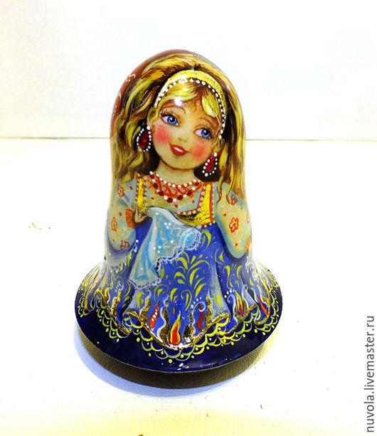 """Народные куклы ручной работы. Ярмарка Мастеров - ручная работа. Купить Неваляшка """"Огневушка-поскакушка"""". Handmade. Синий, неваляшка деревянная"""