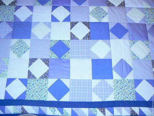 Текстиль, ковры ручной работы. Ярмарка Мастеров - ручная работа. Купить лоскутное одеяло. Handmade. Синий, синтепон