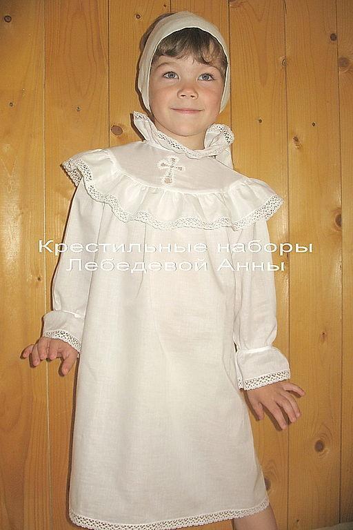 Крестильные принадлежности ручной работы. Ярмарка Мастеров - ручная работа. Купить Крестильная рубашка на девочку с кокеткой 667. Handmade.