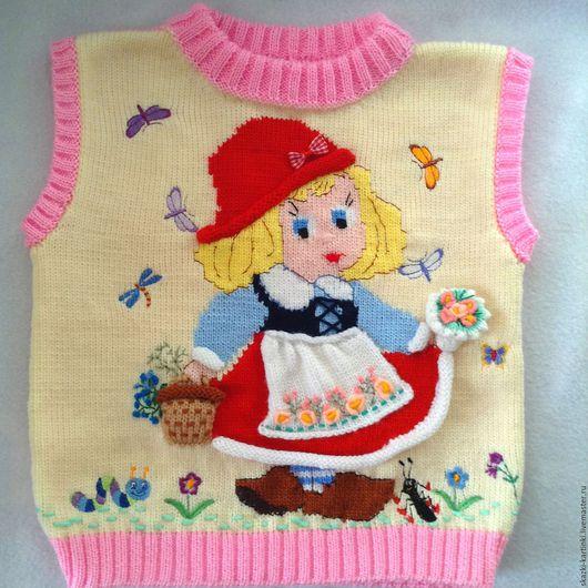"""Одежда для девочек, ручной работы. Ярмарка Мастеров - ручная работа. Купить жилет """"Красная шапочка"""". Handmade. Комбинированный, джемпер вязаный"""