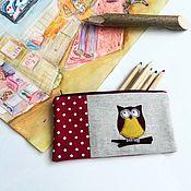 Косметички ручной работы. Ярмарка Мастеров - ручная работа Косметичка пенал с совой. Handmade.