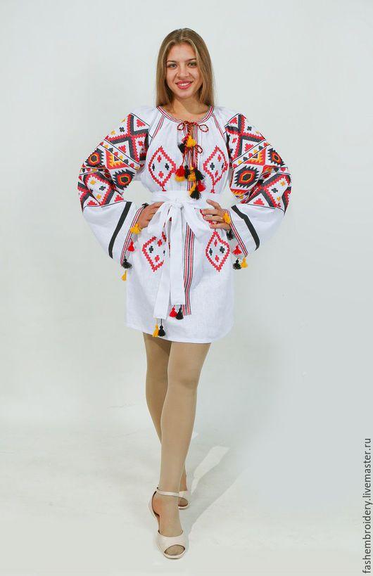 Платья ручной работы. Ярмарка Мастеров - ручная работа. Купить льняное платье туника с вышивкой в стиле Vita Kin , Богемный стиль.. Handmade.