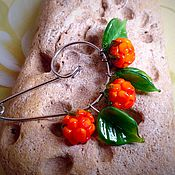 Украшения handmade. Livemaster - original item Safety pin brooch berry cloudberries . Glass lampwork. Handmade.