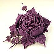 Украшения handmade. Livemaster - original item Dance Of The Roses. purple. Brooch - Flower is made of genuine leather.. Handmade.