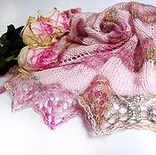 Аксессуары handmade. Livemaster - original item Openwork Shawl Pink and Delicate Shawl Knitting Winter fashion. Handmade.