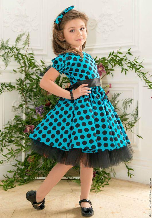 Одежда для девочек, ручной работы. Ярмарка Мастеров - ручная работа. Купить Бирюзовое платье в черный горошек. Handmade. Бирюзовый, lerede