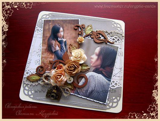 """Открытки на все случаи жизни ручной работы. Ярмарка Мастеров - ручная работа. Купить Открытка """"переплетение роз"""" с вашими фото. Handmade."""