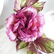"""Украшения ручной работы. Ярмарка Мастеров - ручная работа Роза брошь из шелка """"Cherry""""  Цветы из шелка. Handmade."""
