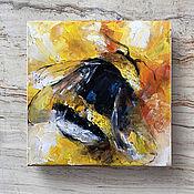 Картины и панно handmade. Livemaster - original item Bumblebee, oil painting, kitchen painting, 20h20cm. Handmade.