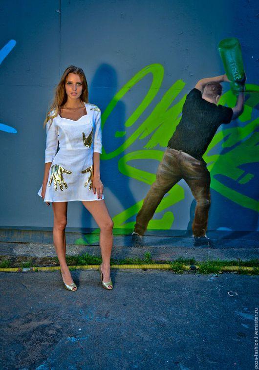 Платья ручной работы. Ярмарка Мастеров - ручная работа. Купить Платье белое с золотыми ручками. Handmade. Короткое платье