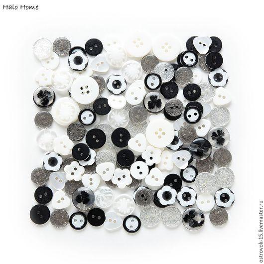Шитье ручной работы. Ярмарка Мастеров - ручная работа. Купить Набор декоративных пластиковых пуговиц черно-белые 110 шт.. Handmade.
