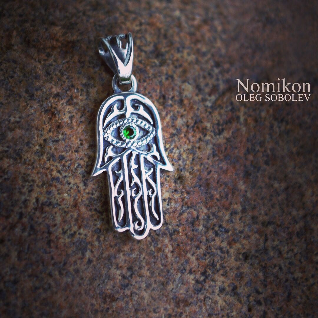 Pendants handmade. Livemaster - handmade. Buy Hamsa (hand of God, eye of Fatima).Silver, amethyst, sapphire