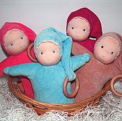Куклы и игрушки ручной работы. Ярмарка Мастеров - ручная работа Куколка-пеленашка, прорезыватель, погремушка.. Handmade.