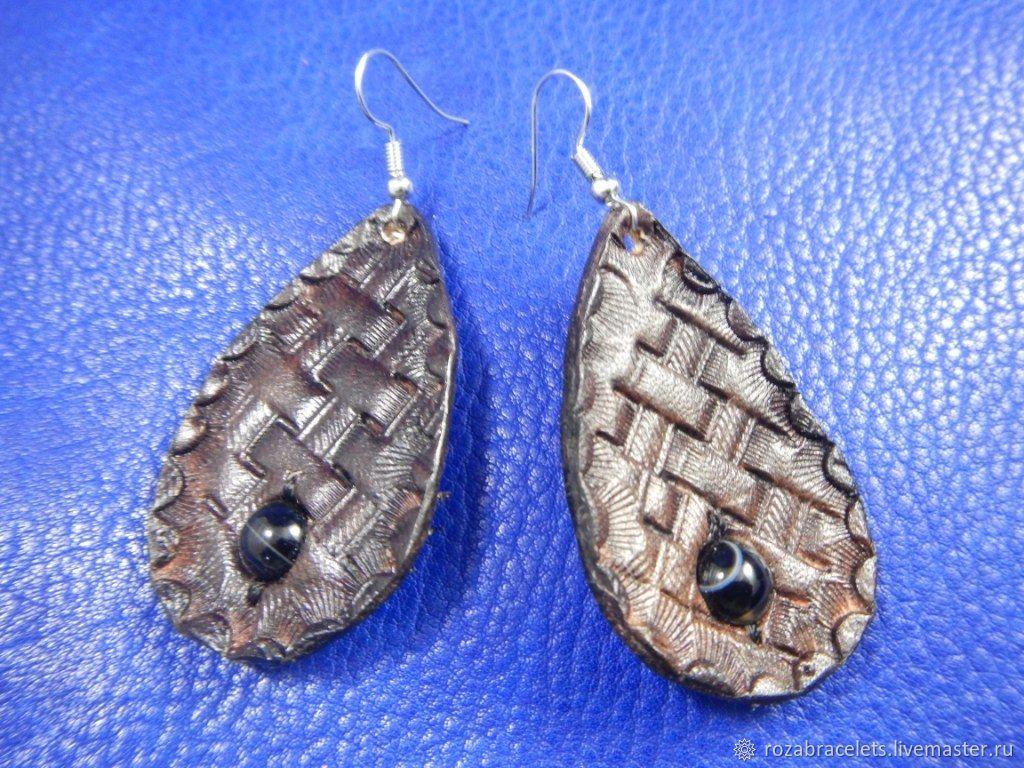 Leather earrings with agate stone, Earrings, Ulyanovsk,  Фото №1