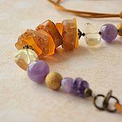 Украшения handmade. Livemaster - original item The beads on the cord Turmeric. Handmade.