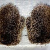 Аксессуары handmade. Livemaster - original item Men`s mittens with raccoon fur. Handmade.