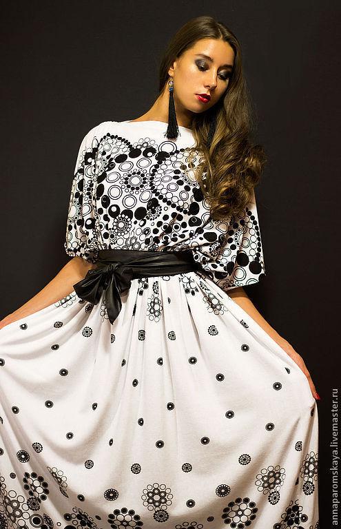 Платья ручной работы. Ярмарка Мастеров - ручная работа. Купить Платье+пояс в подарок. Handmade. Чёрно-белый, Коктейльное платье