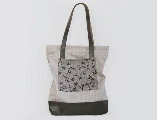 """Женские сумки ручной работы. Ярмарка Мастеров - ручная работа. Купить Женская сумка шоппер из хлопка с кожаными вставками """"Гамильтон №6"""". Handmade."""