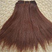 Материалы для творчества handmade. Livemaster - original item Hair pieces natural mohair (goat) dark brown 1 meter. Handmade.