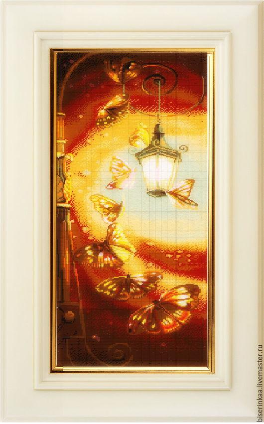 Схема вышивки бисером `Романтика фонаря` с полной зашивкой
