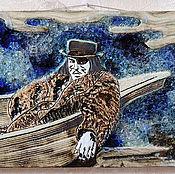 Картины и панно ручной работы. Ярмарка Мастеров - ручная работа Уильям Блейк в лодке (керамическое панно со стеклом). Handmade.