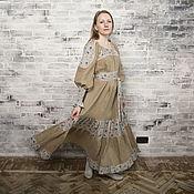 Одежда ручной работы. Ярмарка Мастеров - ручная работа Льняное платье со вставками из хлопка. Handmade.