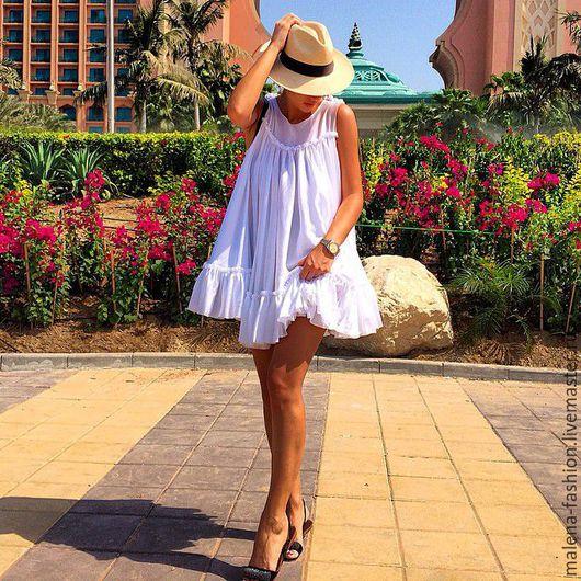 Платья ручной работы. Ярмарка Мастеров - ручная работа. Купить Платье с воланом. Handmade. Белый, платье летнее, коктельное платье
