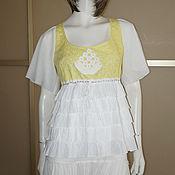 Одежда ручной работы. Ярмарка Мастеров - ручная работа Блузка бохо р.46 желто-белая. Handmade.