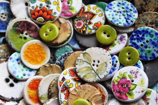 """Шитье ручной работы. Ярмарка Мастеров - ручная работа. Купить """"Пуговки"""" керамика,фарфор. Handmade. Пуговицы, фарфоровые пуговицы"""