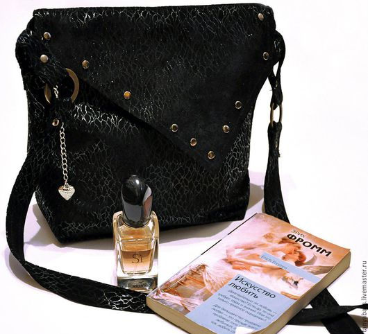 Женские сумки ручной работы. Ярмарка Мастеров - ручная работа. Купить Замшевая сумка ручной работы. Handmade. Черный, сумка