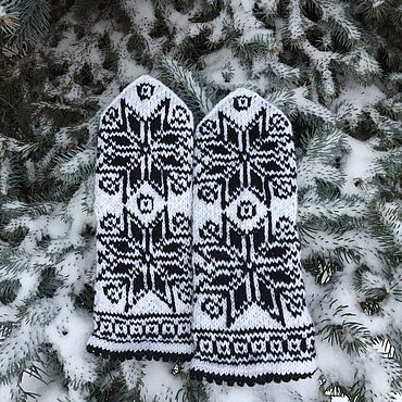 Аксессуары ручной работы. Ярмарка Мастеров - ручная работа Варежки Снегопад. Handmade.
