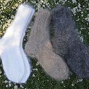 Аксессуары handmade. Livemaster - original item Socks satin Stitch female downy white. Handmade.