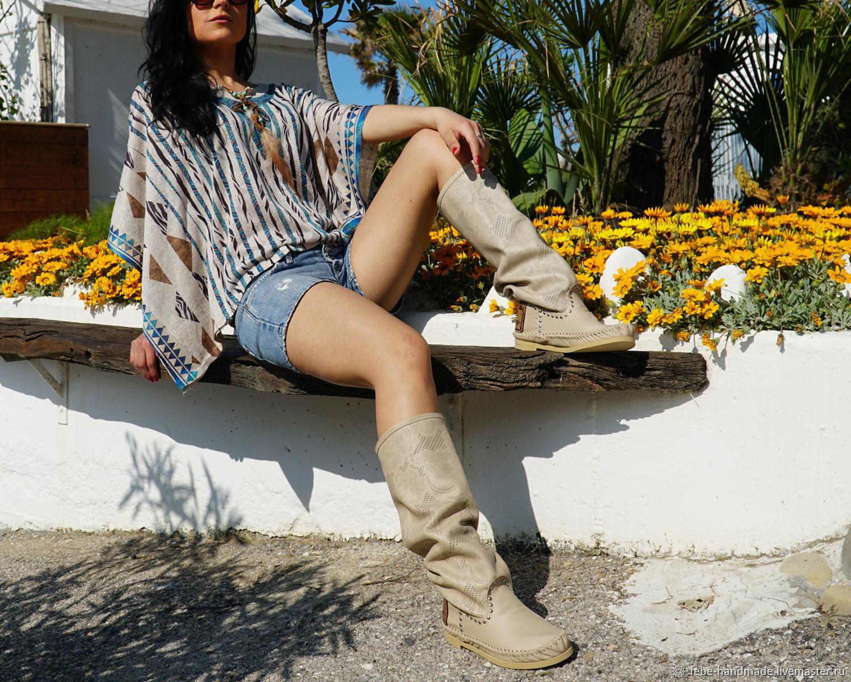 Обувь ручной работы. Ярмарка Мастеров - ручная работа. Купить Летние кожаные сапоги PIZZO fiore бледно мраморные. Handmade.